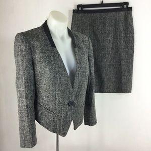 Ann Taylor Skirt Suit Blazer Gray Single Button